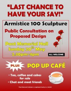 Pant Pop Up Cafe and Armistice 100 consultation @ Pant Memorial Hall | Pant | England | United Kingdom