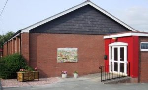 Pant Memorial Hall with Armistice Artwork