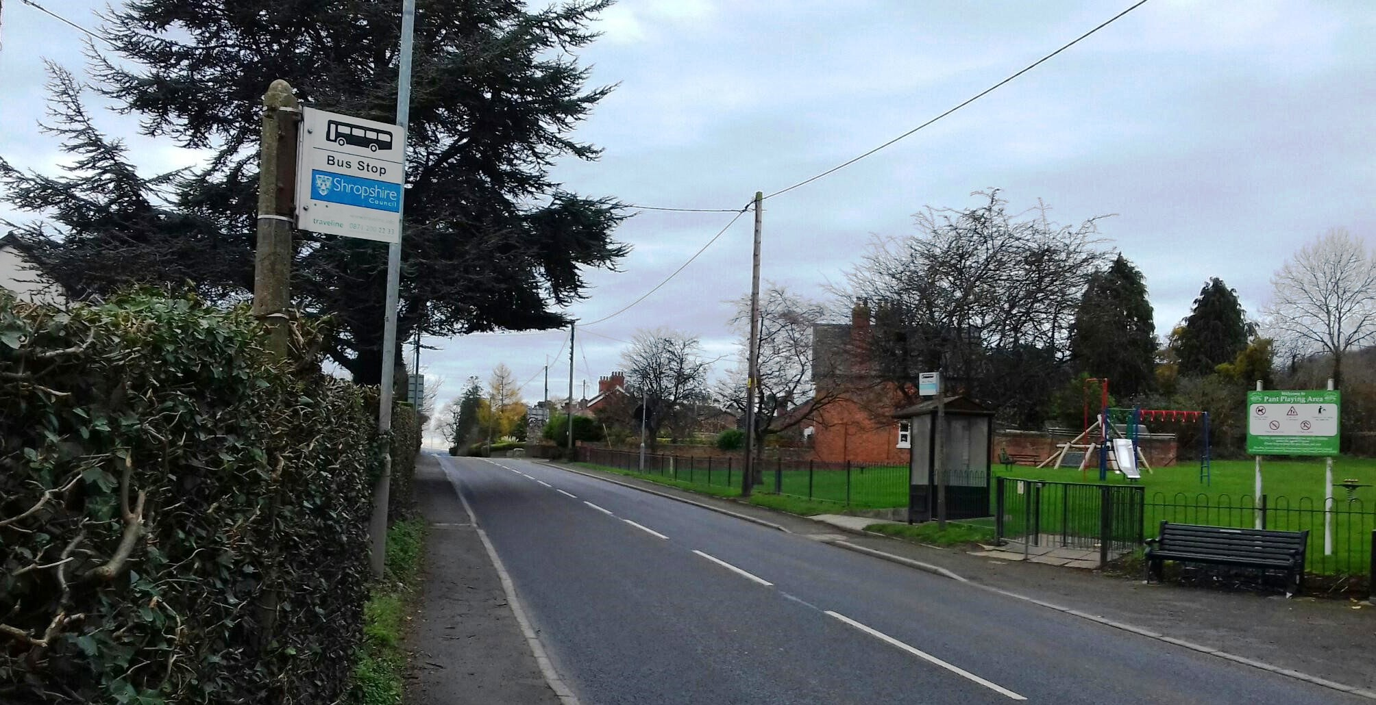 Bus stops in Pant near playing fields